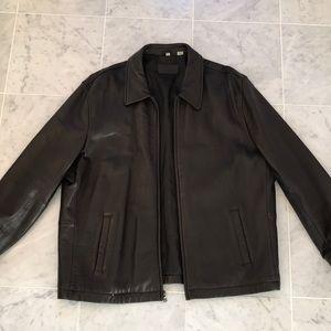 Alfani Men's dark brown leather jacket size xxl